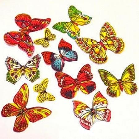 Вафельные бабочки цветные с рисунком 10 шт