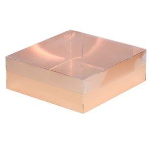 Кондитерская упаковка с прозрачной крышкой Золото 20х20х7 см