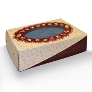 Кондитерская упаковка цветная с окном, 23 х15 х7 см