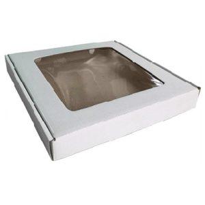 Коробка для пряников белая с окном 20х20х3 см