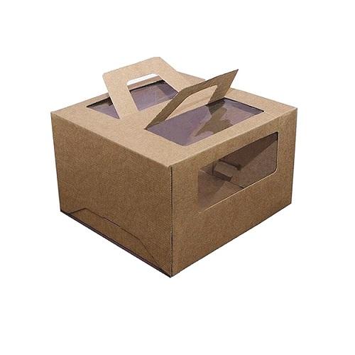 Коробка для торта Гофрокартон с ручками КРАФТ 28x28x20 см