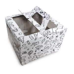 Коробка для торта Гофрокартон с ручками Новогодняя 26х26х20 см