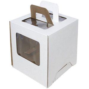 Коробка для торта Гофрокартон с ручками белая 24х24х26 см