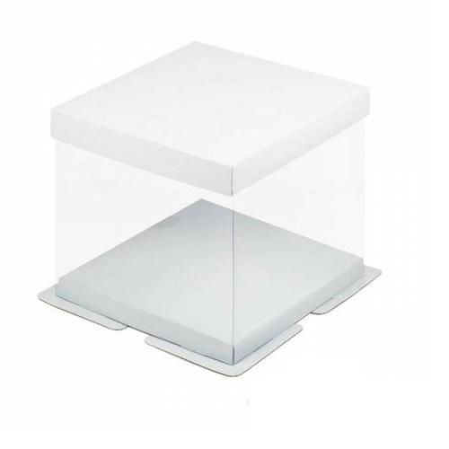 Коробка для торта прозрачная белая 26х26х28 см