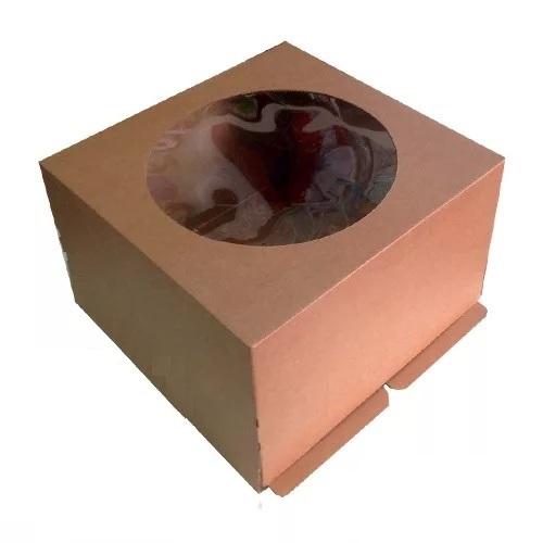 Коробка для торта с окном Микрогофрокартон крафт 30х30х19 см