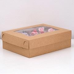 Коробка на 12 капкейков со съемной крышкой и окном Крафт