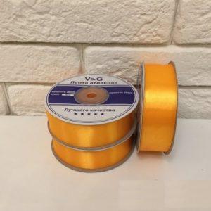 Лента атласная, цвет апельсин 25мм, длина 27 м