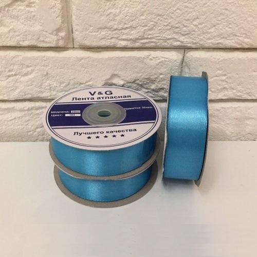 Лента атласная, цвет голубой 25мм, длина 27 м