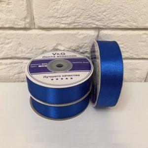 Лента атласная, цвет синий 25мм, длина 27 м