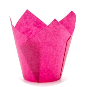 Форма для маффина Тюльпан темно-розовый 50 х 80 мм 10 шт