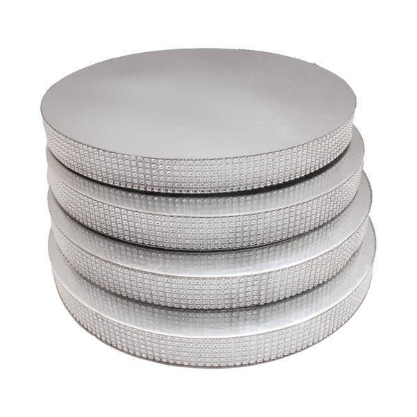 Подложка со стразами серебро 20мм диаметр 44 см