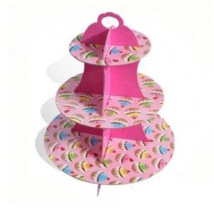 Подставка для капкейков ярко-розовая 3 яруса, плотный картон
