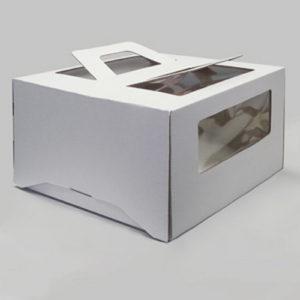 Упаковка для торта на 1кг с ручками, белая, 21 х21 х11,5 см