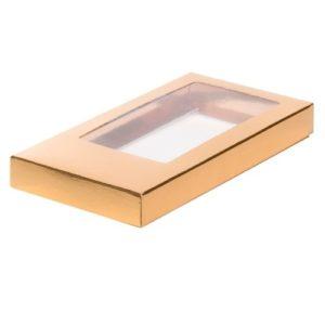 Упаковка для шоколада с окном Золото 18х9х1,7 см