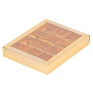 Упаковка для 12 конфет с прозрачной крышкой Золото