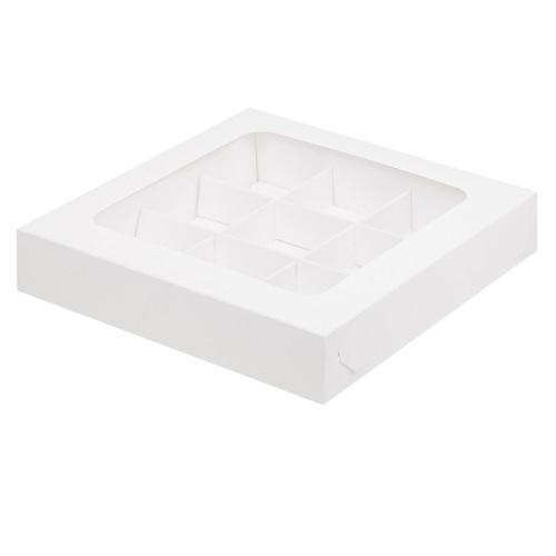 Упаковка для 9 конфет с окном Белая