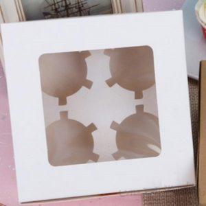 Упаковка на 4 капкейка с окном ФИГУРНАЯ