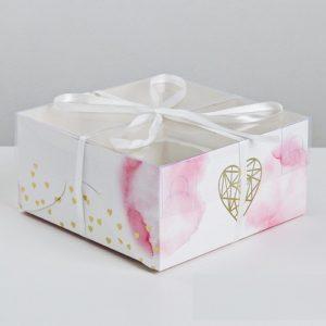 Упаковка на 4 капкейка Love