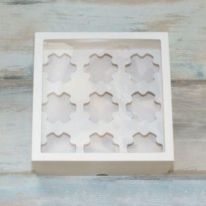 Упаковка на 9 капкейка с окном ФИГУРНАЯ