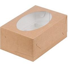 Коробка на 6 капкейков с окном Крафт