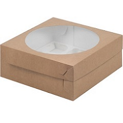 Коробка на 9 капкейков с окном Крафт