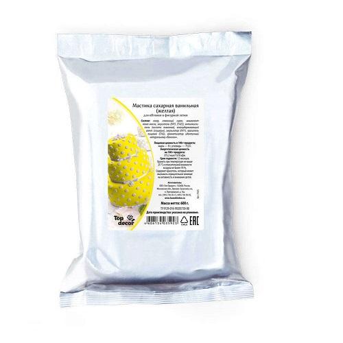 Сахарная мастика Топ Продукт желтая 0,6кг