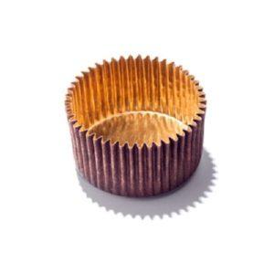 Бумажные капсулы для конфет коричневые с золотом 35 мм. х 20 мм. 50 шт