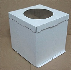 Коробка для торта 36х36х36 см с окном Гофрокартон