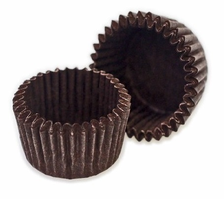 Бумажные капсулы для конфет коричневые 35х20 50 шт