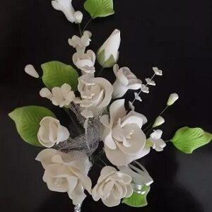Украшение сахарное Цветочная ветка большая белая