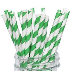 Трубочки бумажные для коктейля зелено-белые 25 шт