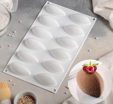 Форма для муссовых десертов и выпечки 12 ячеек, цвет белый