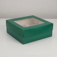 Коробка на 9 капкейков с окном Изумруд