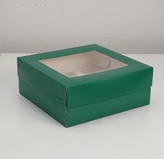 Упаковка для капкейков с окном на 9 шт, Изумруд 25 х 25 х 10 см