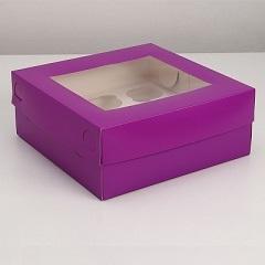 Коробка на 9 капкейков с окном Фиолетовая