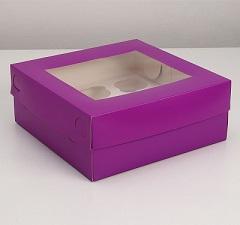 Упаковка для капкейков с окном на 9 шт, фиолетовая 25 х 25 х 10 см