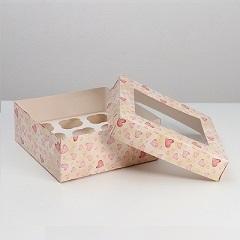 Коробка на 9 капкейков с окном Хорошего дня