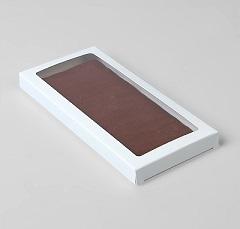 Упаковка для шоколада с окном Белая 17х8х1,4 см