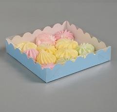 Упаковка для пряников Голубая 12х12х3 см