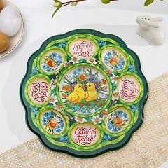 Пасхальная подставка на 8 яиц и кулич «Цыплята в цветах»