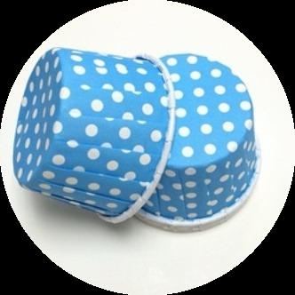 Форма бумажная МАФФИН Синяя, белый горох 50х40 50 шт