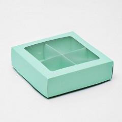 Коробка для конфет 4 шт с окном Мятная