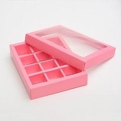 Коробка на 12 конфет розовая 19х15х3.5 см