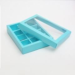 Коробка на 12 конфет Голубая 19х15х3.5 см