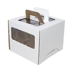 Коробка для торта 28х28х20 см с окном и ручкой Гофрокартон