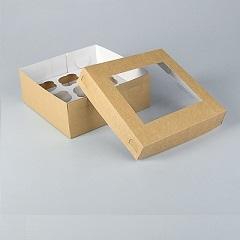 Коробка на 9 капкейков съемная крышка с окном Крафт