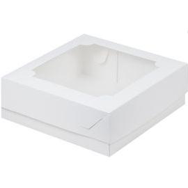 Коробка для зефира и печенья с окошком белая 20х20х7 см