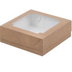 Коробка для зефира и печенья с окошком крафт 20х20х7 см