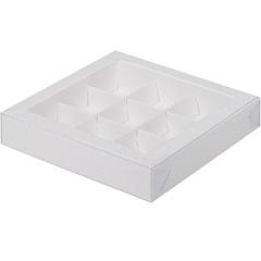 Коробка на 9 конфет Белая с прозрачной крышкой 15.5х15.5х3 см