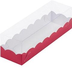 Коробка для Макарунс красная с прозрачной крышкой